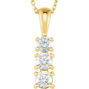 "14K Yellow 1/2 CTW Diamond 3-Stone 18"" Necklace"