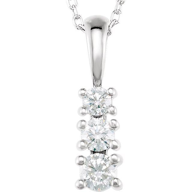 14K White 1/3 CTW Diamond 3-Stone 18