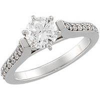 14K White 1 1/3 CTW Diamond Engagement Ring