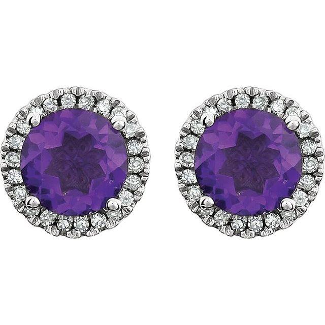 14K White Natural Amethyst & 1/8 CTW Natural Diamond Earrings