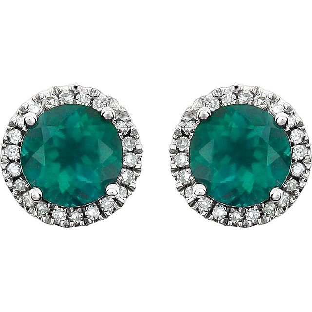 14K White Created Emerald & 1/8 CTW Diamond Earrings