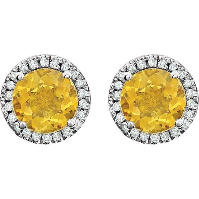14K White Citrine & 1/8 CTW Diamond Earrings