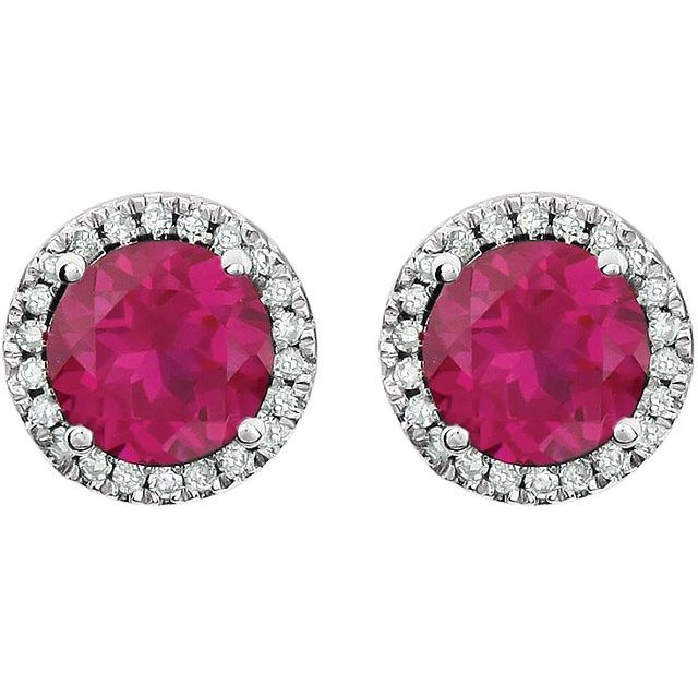 14K White Created Ruby & 1/8 CTW Diamond Earrings