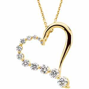 "14K Yellow 1 CTW Diamond Journey Heart 18"" Necklace"
