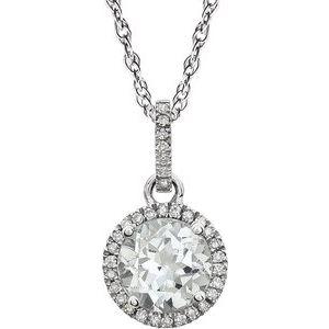 "14K White Created White Sapphire & 1/10 CTW Diamond 18"" Necklace"