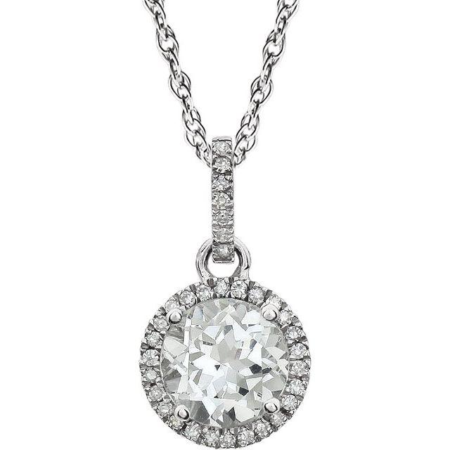 14K White Lab-Grown White Sapphire & 1/10 CTW Natural Diamond 18