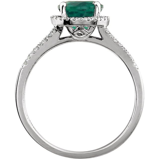 14K White Created Emerald & 1/6 CTW Diamond Ring