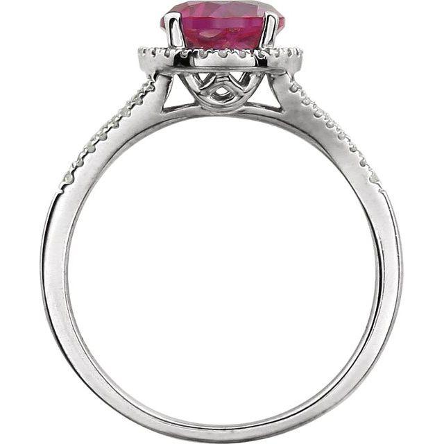 14K White Lab-Grown Ruby & 1/6 CTW Diamond Ring
