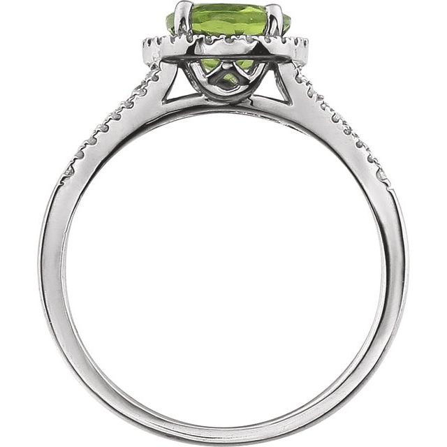 14K White Peridot & 1/5 CTW Diamond Ring