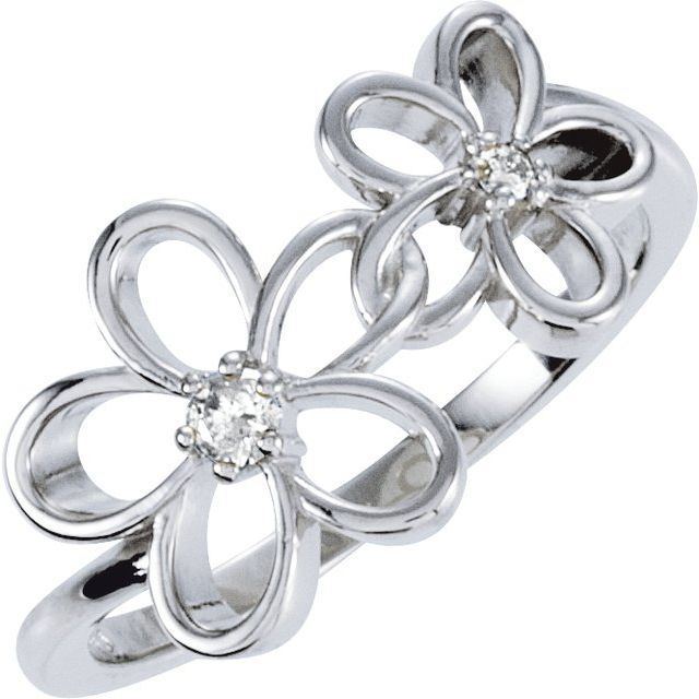 Sterling Silver .07 CTW Diamond Floral-Inspired Ring