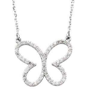 "14K White 1/4 CTW Diamond Butterfly 16"" Necklace"
