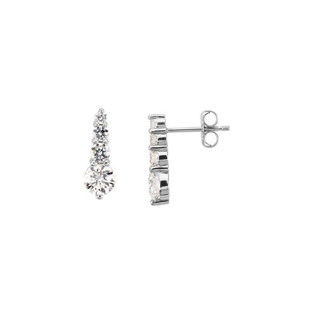 Platinum 1 CTW Diamond Journey Earrings