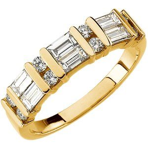 14ky Yellow  3/4 CTW Diamond Anniversary Band