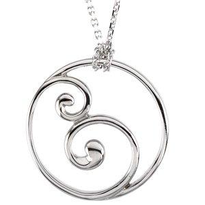 "14K White Circle 18"" Necklace"