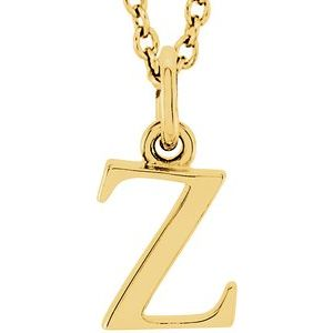 "14K Yellow Lowercase Initial z 16"" Necklace"