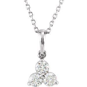 "14K White 1/3 CTW Diamond Three-Stone 18"" Necklace"