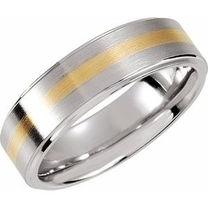 Dura Cobalt™ & 14K Yellow Inlay 8 mm Ridged Band Size 13.5