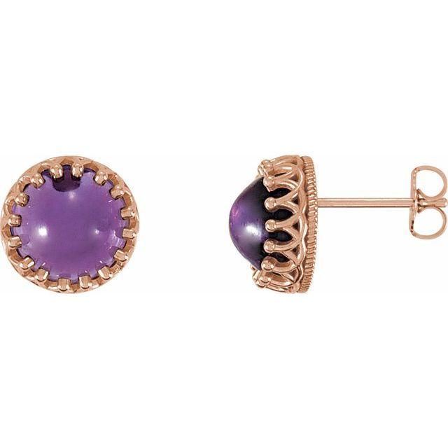 14K Rose 8 mm Round Amethyst Earrings