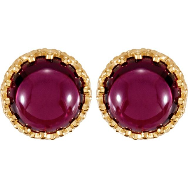 14K Yellow 8 mm Round Rhodolite Garnet Earrings