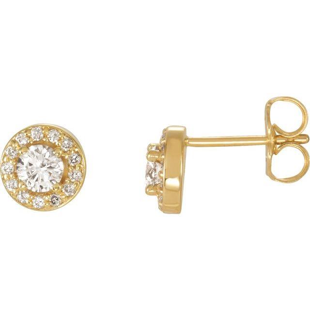 14K Yellow 3/8 CTW Diamond Halo-Style Earrings