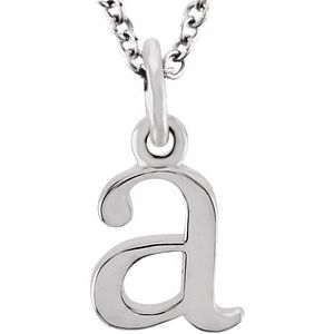 "14K White Lowercase Initial a 16"" Necklace"