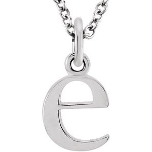 """14K White Lowercase Initial e 16"""" Necklace"""