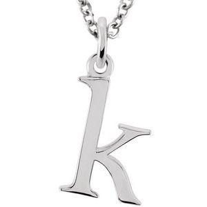 """14K White Lowercase Initial k 16"""" Necklace"""