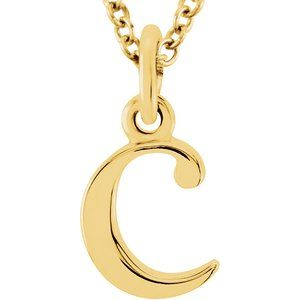 "14K Yellow Lowercase Initial c 16"" Necklace"