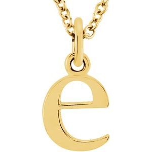 "14K Yellow Lowercase Initial e 16"" Necklace"