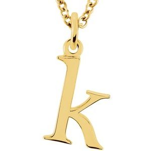 "14K Yellow Lowercase Initial k 16"" Necklace"