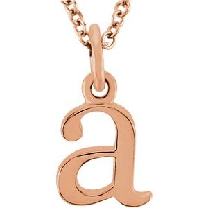 "14K Rose Lowercase Initial a 16"" Necklace"