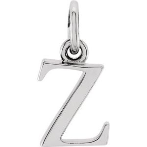 "Sterling Silver Lowercase Initial z 16"" Necklace"