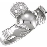 Sterling Silver 12x14 mm Ladies Claddagh Ring