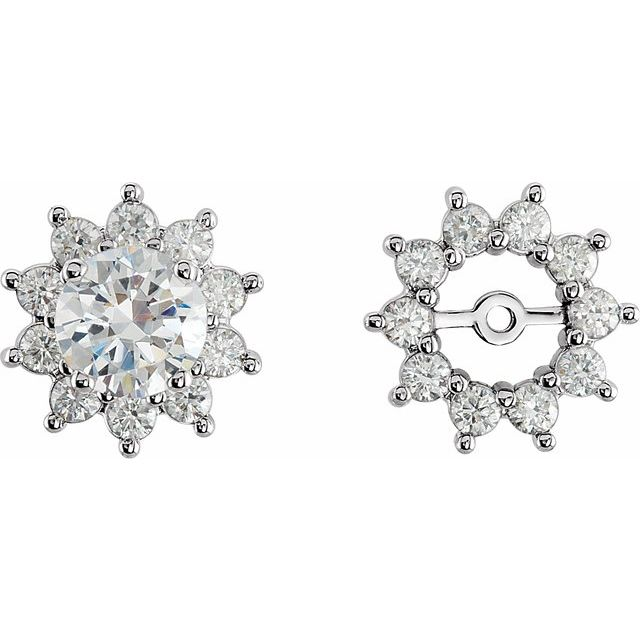 14K White 3/4 CTW Natural Diamond Earring Jackets with 5mm ID