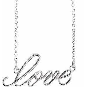 "14K White ""Love"" 16.5"" Necklace"