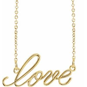 "14K Yellow ""Love"" 16.5"" Necklace"