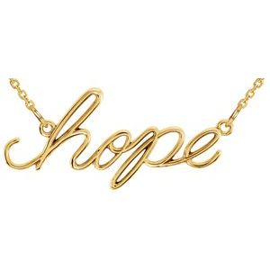 """14K Yellow """"Hope"""" 16.5"""" Necklace"""