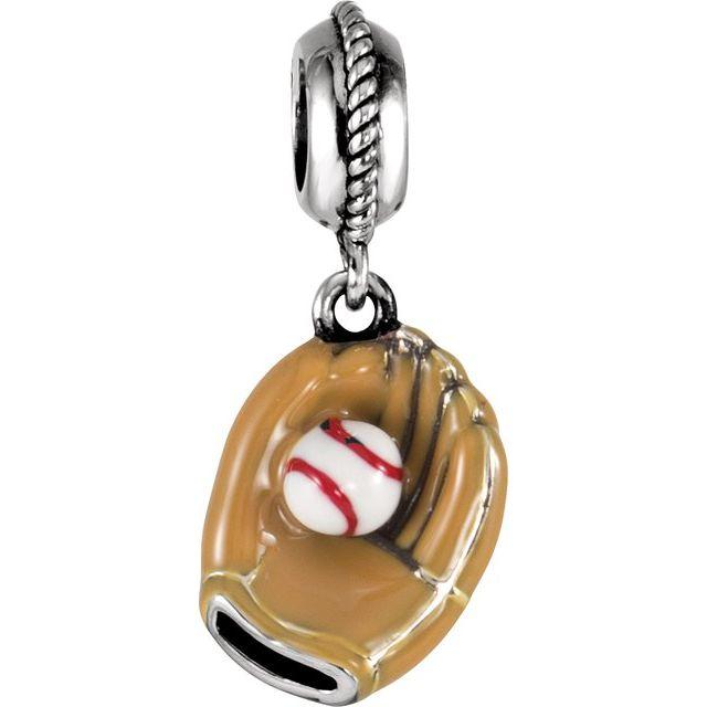 Sterling Silver 12.5x10 mm Kera® Baseball Glove Charm