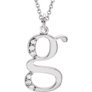 "14K White .03 CTW Diamond Lowercase Initial g 16"" Necklace"
