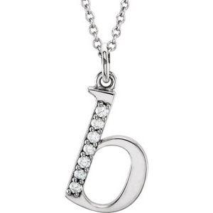 "14K White .03 CTW Diamond Lowercase Initial b 16"" Necklace"