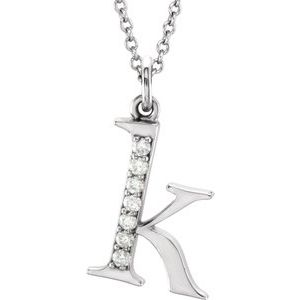 "14K White .03 CTW Diamond Lowercase Initial k 16"" Necklace"
