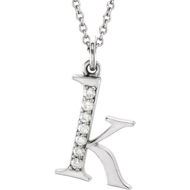 14K White .03 CTW Diamond Lowercase Initial k 16