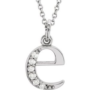 "14K White .03 CTW Diamond Lowercase Initial e 16"" Necklace"