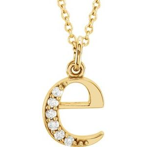"14K Yellow .03 CTW Diamond Lowercase Initial e 16"" Necklace"