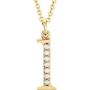 "14K Yellow .03 CTW Diamond Lowercase Initial l 16"" Necklace"