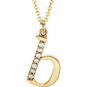 "14K Yellow .03 CTW Diamond Lowercase Initial b 16"" Necklace"