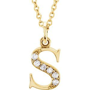 "14K Yellow .03 CTW Diamond Lowercase Initial s 16"" Necklace"