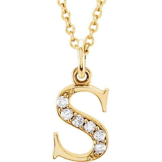 14K Yellow .03 CTW Diamond Lowercase Initial s 16