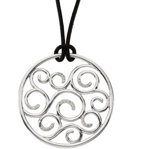 "Sterling Silver 1/6 CTW Diamond Pendant on 18"" Leather Cord"