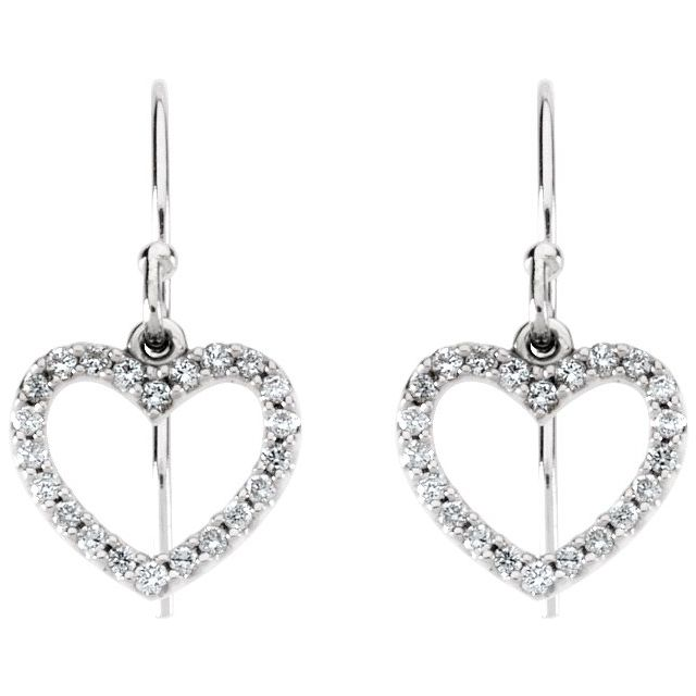 14K White 1/5 CTW Diamond Heart Earrings